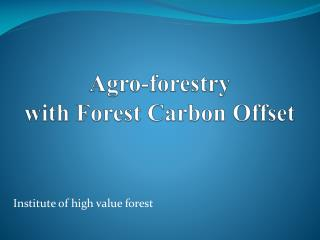 Agro-forestry  with Forest Carbon Offset