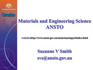 Suzanne V Smith svs@ansto.au