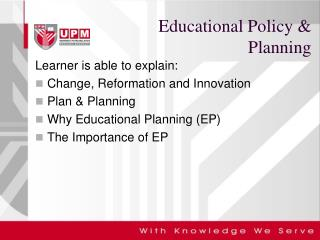 Educational Policy & Planning