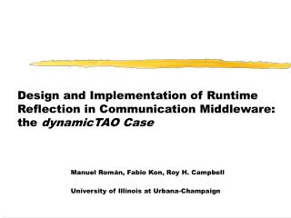Design and Implementation of Runtime Reflection in Communication Middleware:  the  dynamicTAO Case