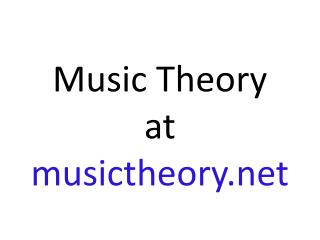 Music Theory at musictheory
