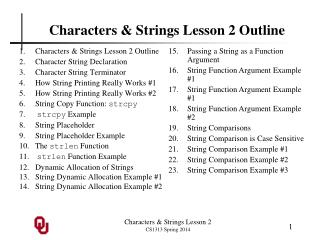 Characters & Strings Lesson 2 Outline