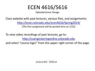 ECEN 4616/5616 Optoelectronic Design