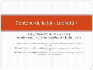 Contenu de la loi «Léonetti»
