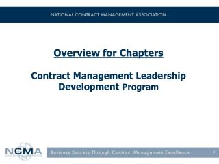 Overview for Chapters Contract Management Leadership Development  Program