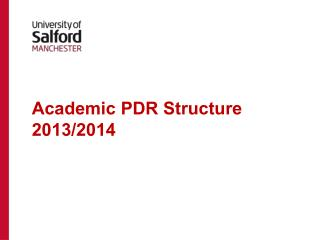 Academic PDR Structure 2013/2014