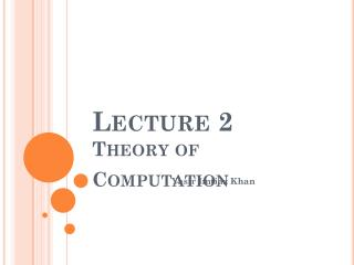 Lecture 2 Theory of Computation