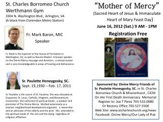 �Mother of Mercy� (Sacred Heart of Jesus & Immaculate Heart of Mary Feast Day )