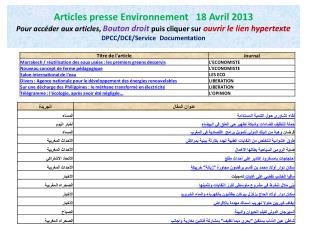 Presse Environnement 18 Avril 2013