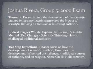 Joshua Rivera, Group 5: 2000 Exam
