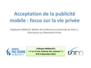 Acceptation de la publicité mobile : focus sur la vie privée