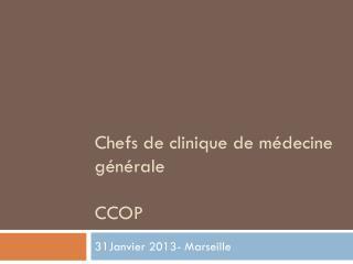 Chefs de clinique de médecine générale CCOP