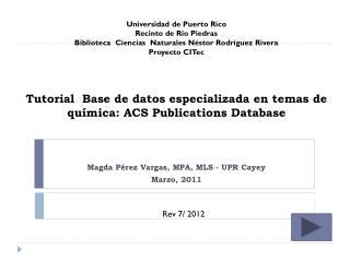 Tutorial   B ase de datos especializada en temas de química: ACS  Publications Database