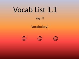 Vocab List 1.1