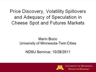 Marin Bozic University of Minnesota-Twin Cities NDSU Seminar, 10/28/2011