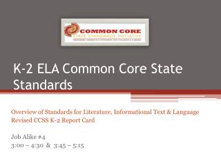 K-2 ELA Common Core State Standards
