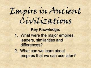 Empire in Ancient Civilizations