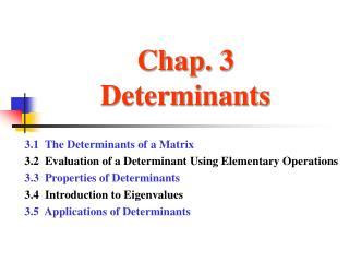 Chap. 3 Determinants