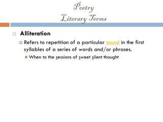 Poetry Literary Terms