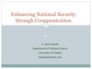 Enhancing National Security through Communication