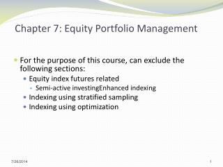 Chapter 7: Equity Portfolio Management