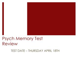 Psych Memory Test Review