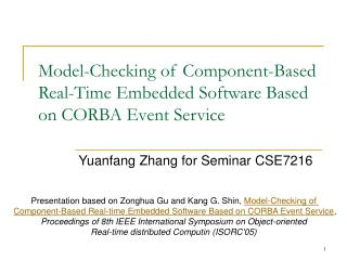 Model-Checking of Component-Based Real-Time Embedded Software Based on CORBA Event Service