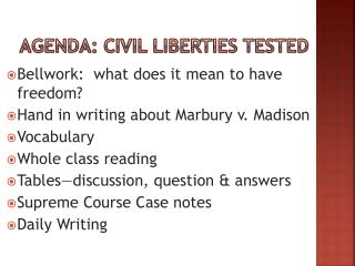 Agenda: civil liberties tested