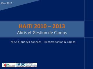 HAITI 2010 – 2013 Abris et Gestion de Camps