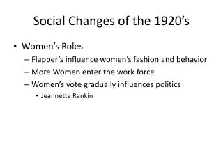 Social Changes of the 1920's