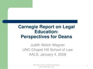 Carnegie Report on Legal Education: Perspectives for Deans