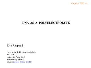 DNA  AS  A  POLYELECTROLYTE
