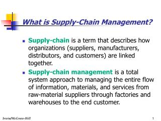 What is Supply-Chain Management?