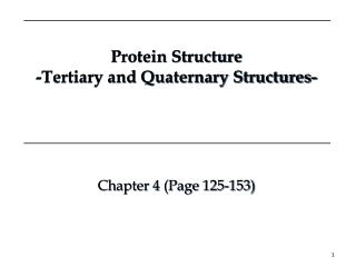Protein Structure -Tertiary and Quaternary Structures-