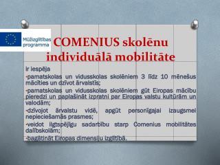 COMENIUS skolēnu individuālā mobilitāte