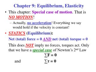Chapter 9: Equilibrium, Elasticity