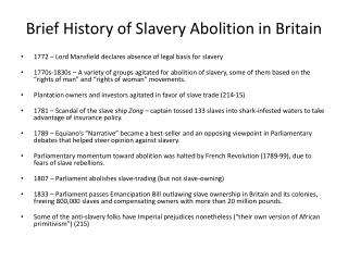 Brief History of Slavery Abolition in Britain