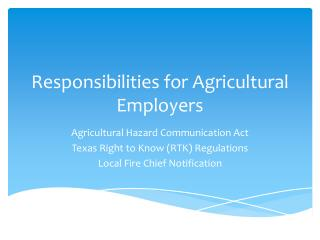 Responsibilities for Agricultural Employers