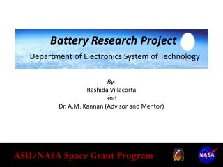 Battery Research Project Department of Electronics System of Technology