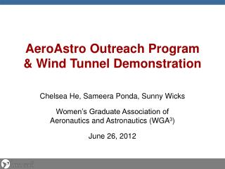 AeroAstro  Outreach Program & Wind Tunnel Demonstration