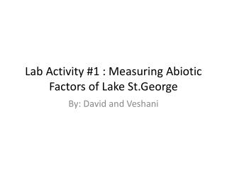 Lab Activity #1 : Measuring  Abiotic  Factors of Lake  St.George