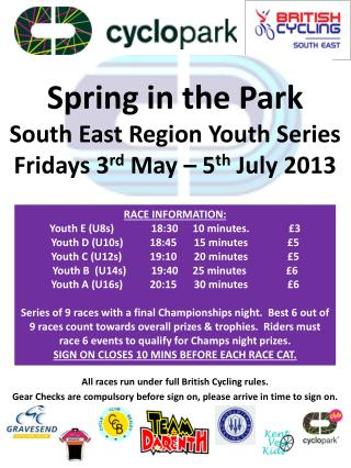 Spring in the Park South East Region Youth Series Fridays 3 rd  May – 5 th  July 2013