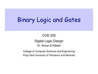 Binary Logic and Gates