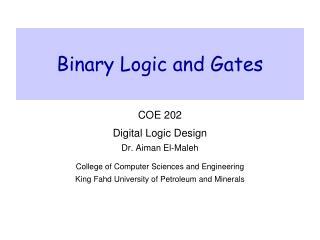 Binary Logic and Gates