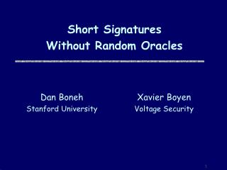 Short Signatures Without Random Oracles