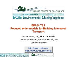 EPA04 T3.2  Reduced order models for Building Interzonal Transport