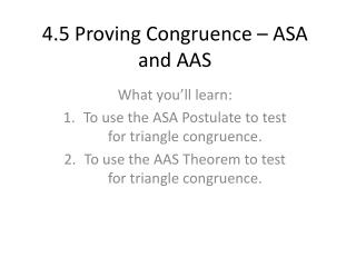 4.5 Proving Congruence – ASA and AAS