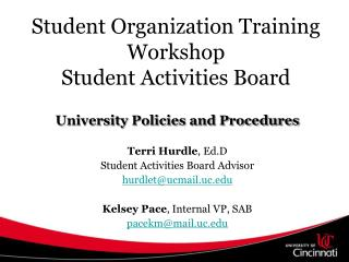 Student Organization Training Workshop Student Activities Board