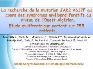 IXème Congrès National d'Hématologie-Tlemcen 2012