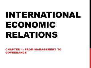 International Economic  R elations